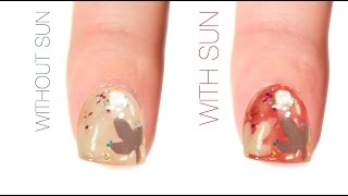 Fall Leaf Color-Changing Nail Art Design
