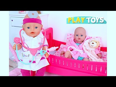 Baby Born Playing Doctor Toys Pretend Play! Learn Colors with Orbeez baby dolls bath time family fun