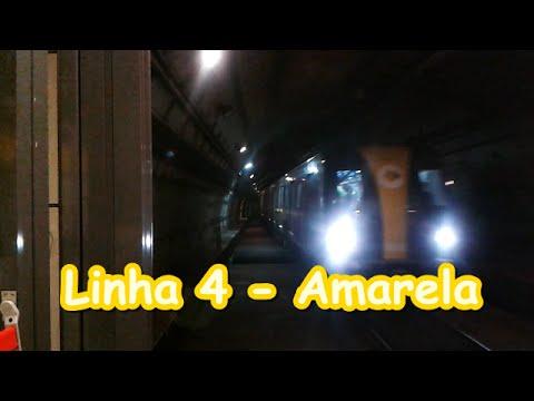 Linha 4 - Amarela - Trem alinhando em Paulista