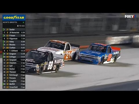 NASCAR Camping World Truck Series 2018. Bristol Motor Speedway. Last Laps Battle for Win