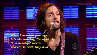Jason Mraz - I Won't Give Up [ live on David Letterman 2012 ] ( lyrics )