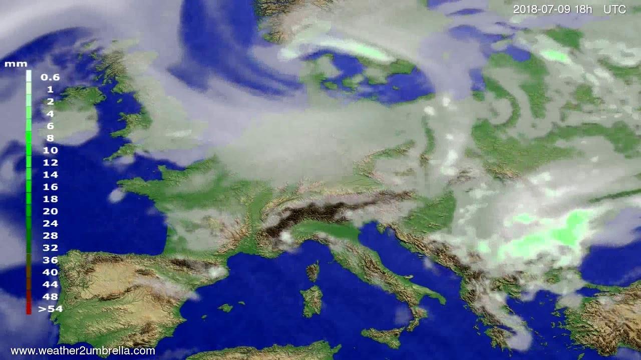 Precipitation forecast Europe 2018-07-06