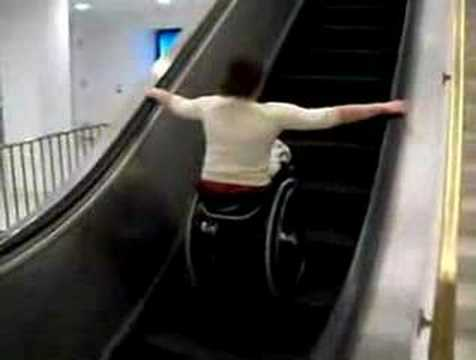 Wheelchair vs Escalator.