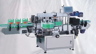 """The double side automatic labeling machine is suitable for round bottles or flat bottles with double mark or single mark . The shape belt can be inclined, and the labeling head can be adjusted  at eight orientations, so the machine can be adjusted successfully in several minutes for any bottle.basic parameter of model YX-650A linear labeling machine double sided liquid detergent flat bottles labeller Etiquetadora de botellas:Model YX-650A■Voltage Specification: AC220V/380V, 50/60HZ Single-phase■ Power: 2.2KW/220V(US power standard adjustable)■ Labeling Speed: 40-50pcs/min.■ Labeling Precision: ±1 mm (errors of labeled objects and labels exclusive)■ Air Source for labeling: 5kg/cm2■ Applicable Vessel Range: 15-150mm in length, 10-100mm in diameter, 40-350mm in height■ Applicable Label: 15-180mm in height, 10-200mm in length.■ Max Label: 420mm in diameter, 76mm in inner diameter of paper roll.■ Label Gap: 3-4mm■ Gap between upper and lower sides of label and upper and lower sides of backing paper: 2mmThe pressure between the active axle and  press roller can be adjusted , so the running direction of the lanel can be adjusted freely, The label is only pressed flexibly without causing any distortion . The labeling head adopts the structure of the double press rollersl, it guarantees that the label is pulled tightly but not broken because of the underneath paper die-cutting , the separated clutch makes the strain more balanced.The touch screen based human interface in Russian  and English with one online helping system makes it easy for operate the machine. The press belt is feared into the main transporting line , so it makes the two transporting lines work in synchronous absolutely.The machine is supplied with the famous sever motor ,so it realizes real closed loop controlling and it avoids the phenomenon of """"the blind man walk"""" when supplied  with the stepper motor.The multi channel encoder detects labeling position precisely at high speed.The label is pressed by a fl"""