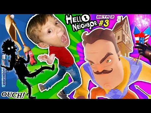 SCARY HELLO NEIGHBOR DREAM: SHADOW MAN! FGTEEV BUTT KICKED! COKE & MENTOS EXPERIMENT Basement Beta 3 (видео)
