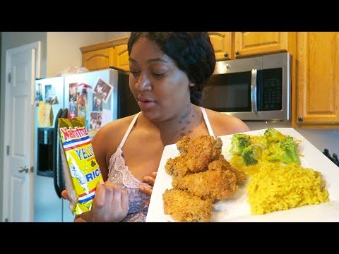 FRIED CHICKEN, YELLOW RICE, & BROCCOLI AND CHEESE COOKING VLOG W/ LeeLee & Gramz