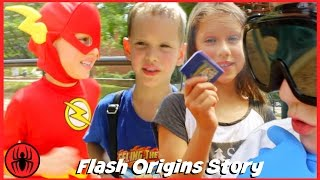 The Flash Origins Story w Playground Bully & Doctor Clariss real life movie comics SuperHero Kids