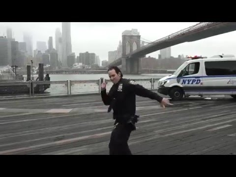 NYPD Dance With School Kids At The Brooklyn Bridge