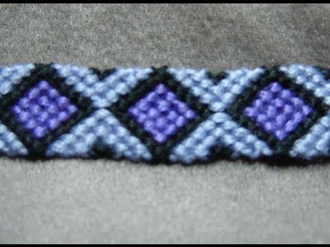 ► Friendship Bracelet Tutorial - Intermediate - Diamonds (original)