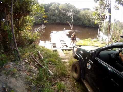 Berbice - Taking the Hilux on a pontoon down the Berbice River to a ranch in Kimbia, Guyana.