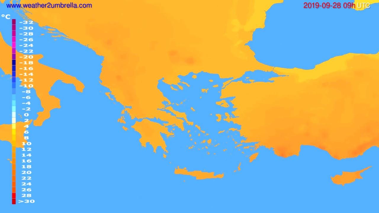 Temperature forecast Greece // modelrun: 00h UTC 2019-09-26