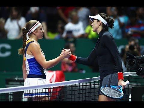 2017 WTA Finals Singapore | Garbiñe Muguruza vs Jelena Ostapenko | WTA Highlights (видео)