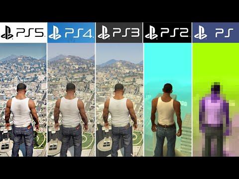 PS5 vs PS4 vs PS3 vs PS2 vs PS1   GTA - Comparación de Generaciones y Gráficos (4k 60fps)