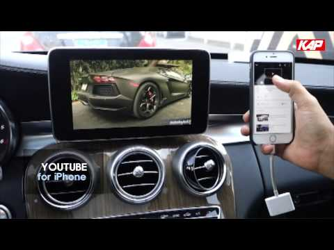 Mercedes-Benz W205 Mirroring Iphone6 with Moving Parking Lin…