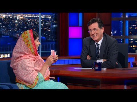 Nobel Peace Prize winner Malala Yousafzai shows off her magic card trick