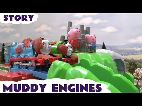thomas - Thomas and Friends engines Percy Gordon Duck James and Flora see Peppa Pig George and her friends playing on their Muddy Puddles Swing Zipline Slide and Roun...