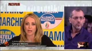 Giorgia Meloni Gela lo studio e i suoi ospiti 11/05/2015