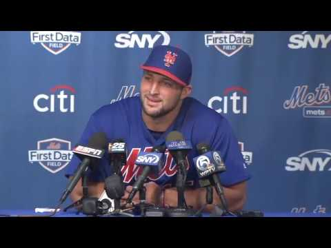 Video: Tim Tebow arrives at New York Mets camp, talks baseball goals