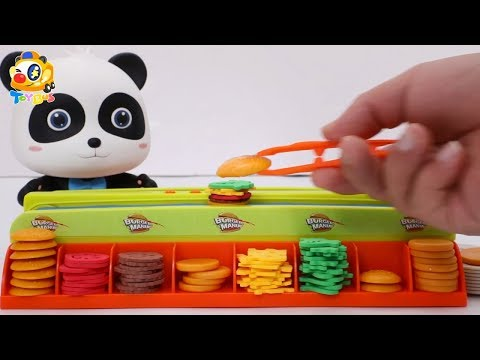 Baby Panda's Hamburger House | Cooking Fever | Kitchen Play Set For Kids | ToyBus