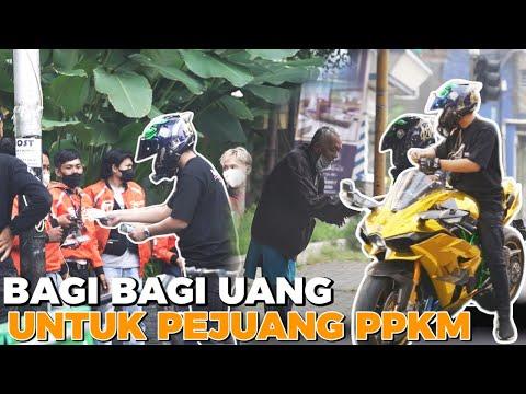 Viral, Pria Bagi-Bagi Duit Di Bandung Pakai Kawasaki H2