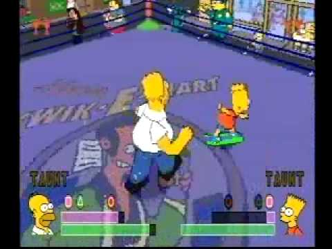 Simpsons Wrestling Playstation Gamplay Homer VS Bart