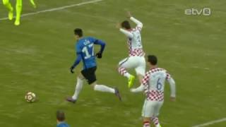 Eesti meeste jalgpallikoondis alistas 28.03.17 peetud maavõistluskohtumises A. Le Coq Arenal üllatuslikult suurelt Horvaatia koondise 3:0. Estonia won 3:0.