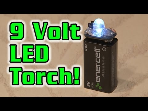 torch - Here is an easy to build mini 9 Volt LED flashlight! WATCH IN 720P!Get the schematic at http://www.kipkay.com Resistor Calculator here: http://led.linear1.or...