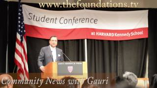 Rajat Sharma speaking at Harvard India Conference 2017