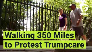 "This father, whose daughter has cerebral palsy, is walking from North Carolina to DC to protest Trumpcare.""To know that there's so many more people out there that are behind me, it makes each step lighter.""Subscribe to Fusion: http://fus.in/subscribeVisit us at: http://www.fusion.netLike us at: https://www.facebook.com/fusionmedianetworkFollow us at: https://twitter.com/fusionView us: http://instagram.com/ThisIsFusionWatch more from Fusion friends:F-Comedy: https://goo.gl/Q27Mf7Fusion TV: https://goo.gl/1IbZ1BGizmodo: https://goo.gl/YTRLAEKotaku: https://goo.gl/OcnXv7Deadspin:  https://goo.gl/An7N8gJezebel:  https://goo.gl/XNsnCJLifehacker:  https://goo.gl/3rNmzwIo9:  https://goo.gl/ismnzPJalopnik:  https://goo.gl/u7sDEkSploid:  https://goo.gl/4yq2UYThe Root:  https://goo.gl/QMOjBE"