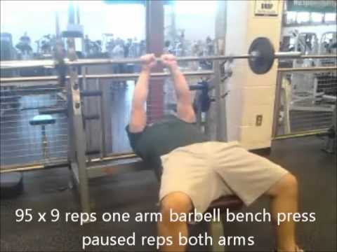Bench press pause workout, narrow grip incline, one arm barbell press