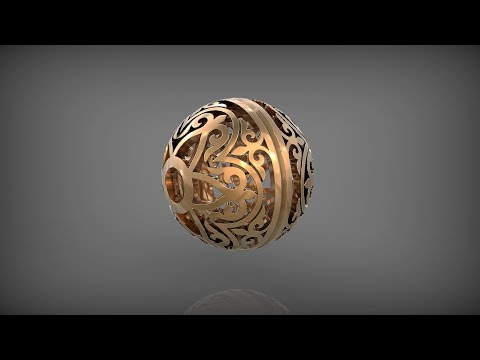 Ornament ball 2. Rhinoceros 3D.