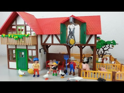 Playmobil Bauernhof 6120 auspacken seratus1 Kühe Schweine Country