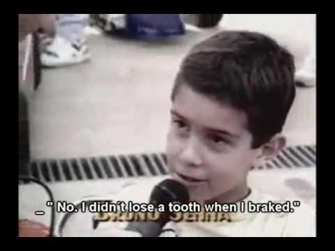 Bruno ganando una carrera en el cartódromo de su tío a los 11 años