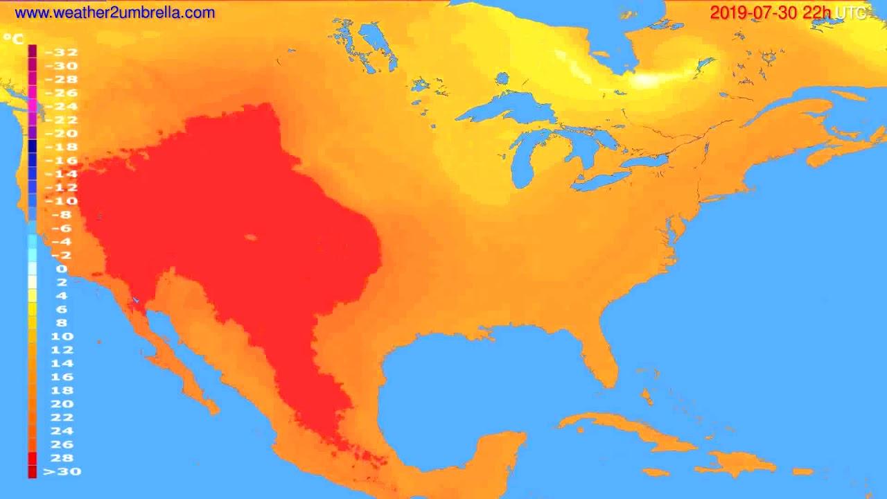 Temperature forecast USA & Canada // modelrun: 12h UTC 2019-07-28