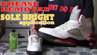 Jordan 5 - Remove Creases and Angelus Sole Bright Application Shop Current EAD Customs Here http://bit.ly/ShopEADCustomsAngelus Leather Paint Products and  Supplies https://angelusdirect.com?rfsn=575175.fbefe488See more of EAD Customs on Instagram: @eadcustomsCheck out my Blog http://www.Create4Cash.comEmail eadcustoms@gmail.com for any custom inquiry.Comment, Like, Subscribe!