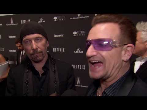 2014 Golden Globes Party: Winners Bono and The Edge Interview