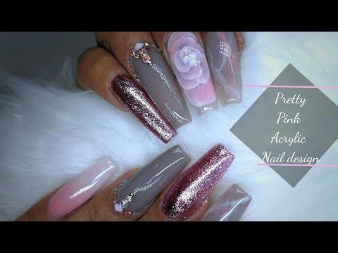 Acrylic nails - Encapsulated Acrylic Flower  Pink & Grey Acrylic Nail Design