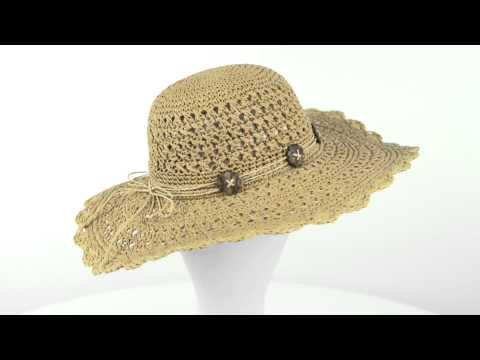 Cov-Ver Crocheted Sea Grass Sun Hat – Coconut Buttons (For Women)