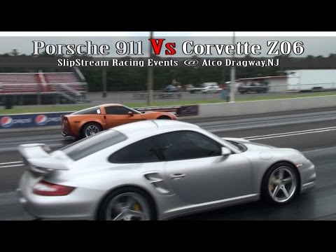 porsche 911 vs corvette z06 - drag race