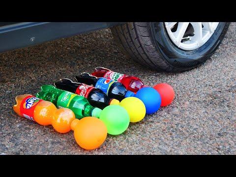 Experiment: Car vs Cola, Fanta, Sprite, Pepsi with Balloons