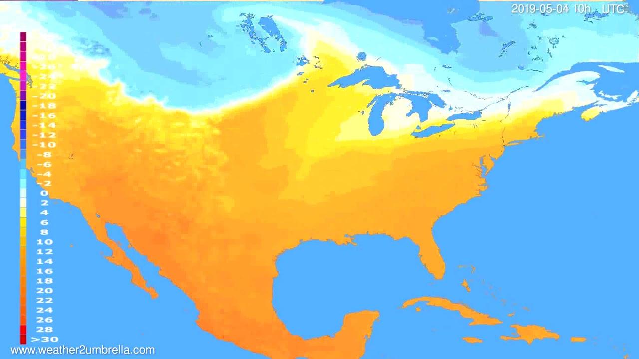 Temperature forecast USA & Canada // modelrun: 12h UTC 2019-05-01