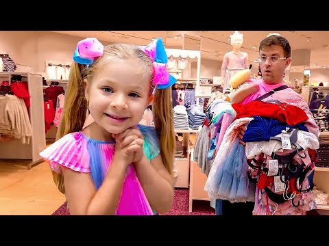 Diana and Dad are buying new dresses