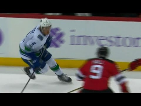 Video: Canucks' Boeser nailed by Hall with huge clean hit