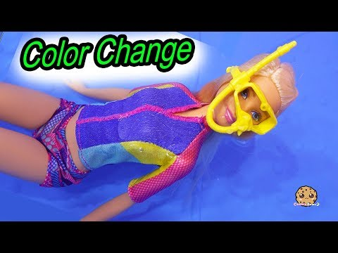 Color Changing Dolphin Magic Barbie Sets Part 1 ! Pool Water Play Dolls