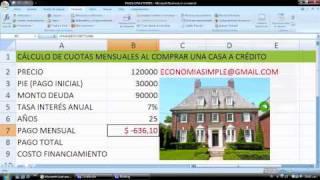 Cálculo en EXCEL la cuota de la hipoteca de la casa
