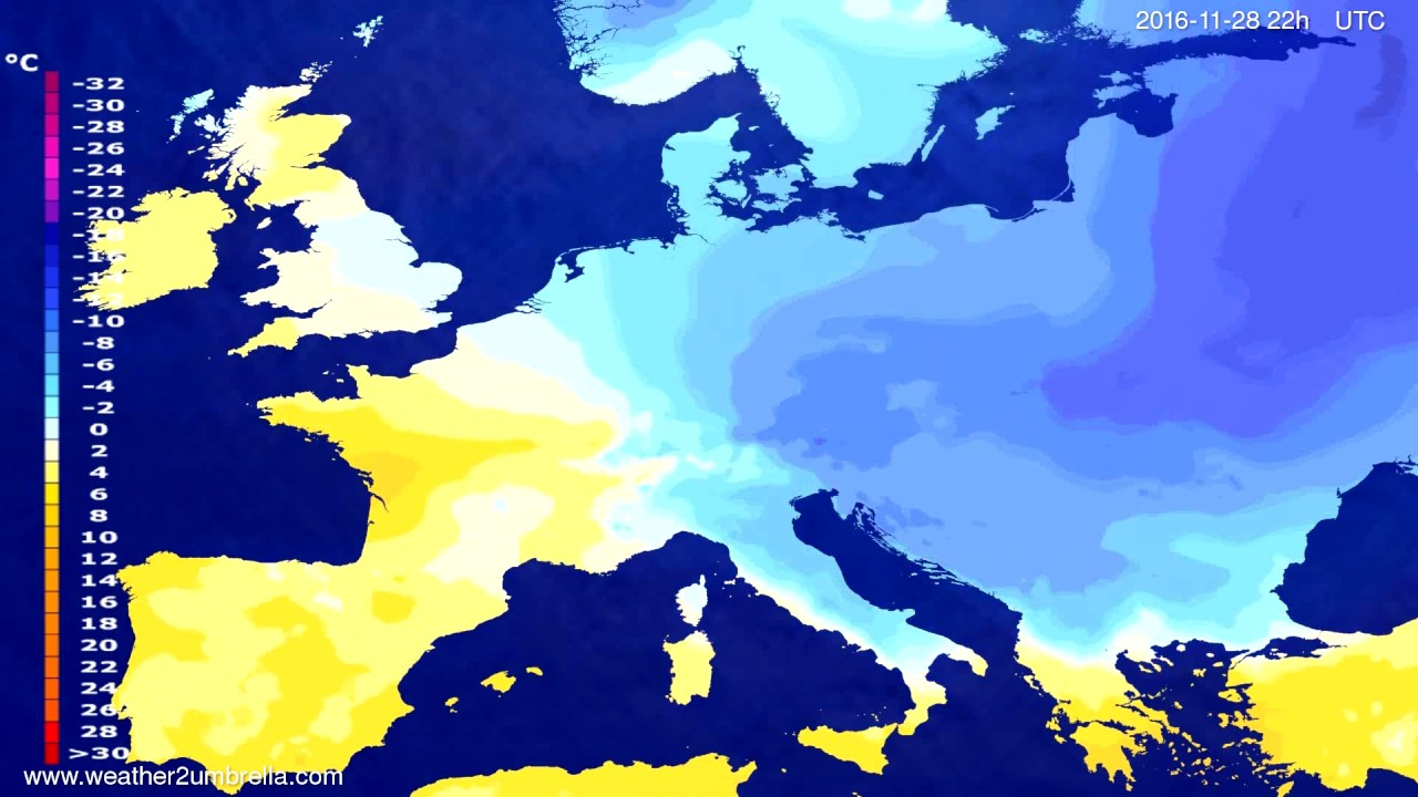 Temperature forecast Europe 2016-11-26