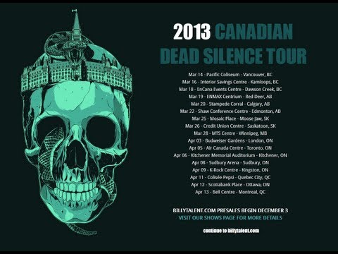 Billy Talent Canadian Tour - March/April 2013 w/Sum 41, Hollerado & Indian Handcrafts