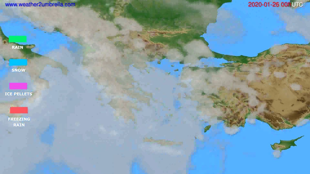 Precipitation forecast Greece // modelrun: 00h UTC 2020-01-25