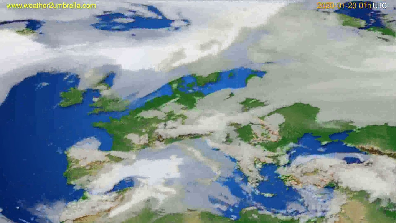 Cloud forecast Europe // modelrun: 12h UTC 2020-01-18