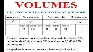 Maths 5ème - Volumes convertir d'unités de mesure Exercice 1